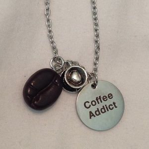 Jewelry - Silver Coffee Addict Necklace 17""